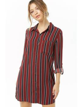 Multicolor Striped Shirt Dress by Forever 21