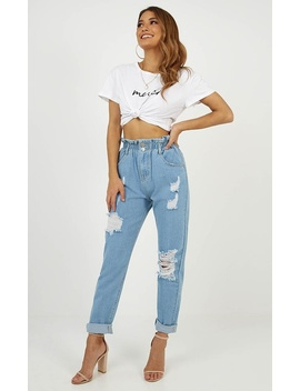 Danika Mum Jeans In Mid Wash by Showpo Fashion