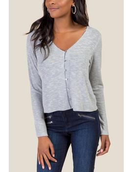 Serena Heathered Rib Knit Button Front by Francesca's