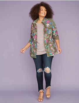 Floral Print Twill Jacket by Lane Bryant
