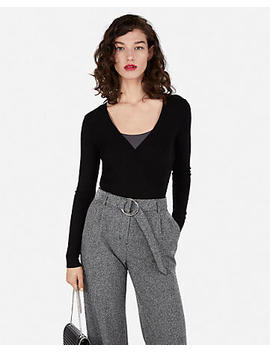 Wide Ribbed Surplice Fitted Sweater by Express