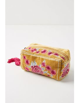 Floral Velvet Cosmetic Case by Anthropologie