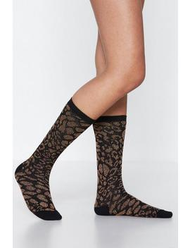 Feet Uring Leopard Metallic Socks by Nasty Gal