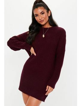Burgundy Chunky Knitted Sweater Dress by Missguided