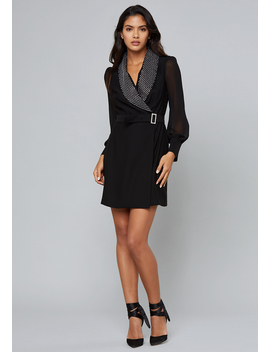 Crystal Collar Crepe Dress by Bebe