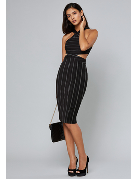 Striped Strappy Midi Dress by Bebe