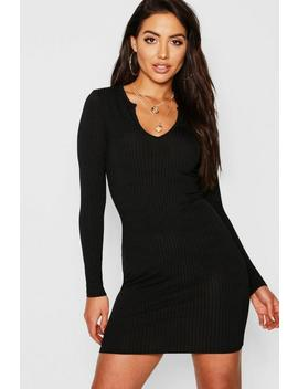 Jumbo Rib Notch Neck Long Sleeve Mini Dress by Boohoo