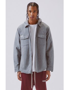 Fog   Fear Of God Essentials Hooded Zip Shacket by Pacsun
