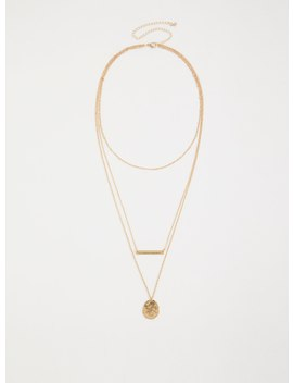 Gold Tone Disc & Bar Layer Necklace by Torrid