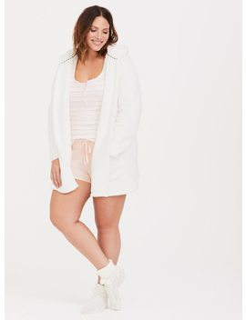 White Hooded Faux Fur Lounge Cardigan by Torrid