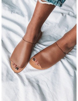 Just Because Anjuna Tan Leather Slide by Just Because