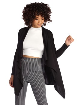 Pencil Me In Draped Cardigan by Windsor