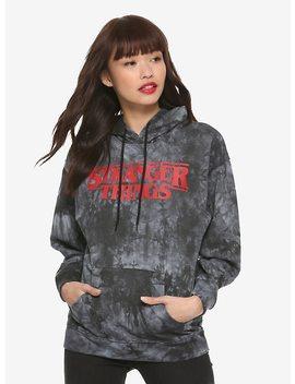 Stranger Things Dark Grey Tie Dye Logo Girls Hoodie by Hot Topic