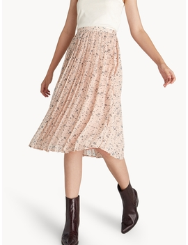 Midi Sheer Floral Pleated Skirt by Pomelo