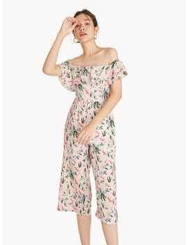 Off Shoulder Culotte Jumpsuit   Pink by Pomelo