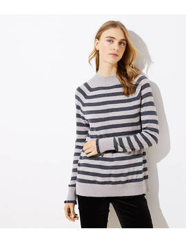 Striped Ruffle Cuff Mock Neck Sweater by Loft