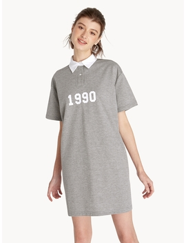Mini 1990 Polo Shirt Dress   Grey by Pomelo