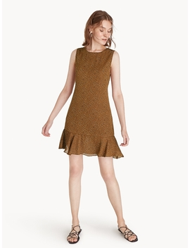 Saffron Sleeveless Ruffle Dress   Brown by Pomelo