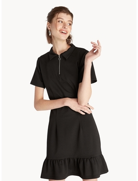 Mini Fit And Flare Polo Dress   Black by Pomelo