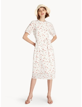 Floral Tie Waist Dress   White by Pomelo