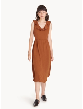 Midi Strappy Back Ruffled Dress   Brown by Pomelo