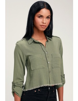 Mirabel Olive Green Button Up Raw Hem Crop Top by Lulus