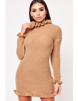 Jemma Camel High Neck Knitted Dress by Misspap