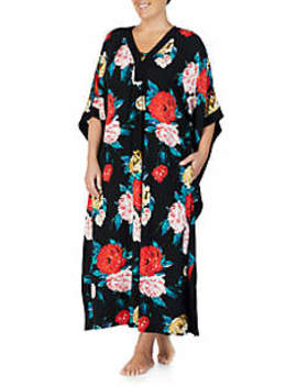 Plus Size Floral Print Sleep Caftan by Ellen Tracy