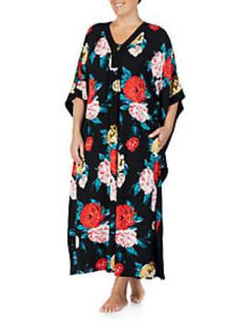 Plus Size Floral Print Sleep Caftan by Ellen Tracy