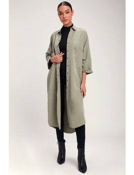 Sephia Light Olive Green Lightweight Long Jacket by Lulu's