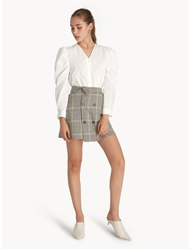 Mini Glen Plaid Double Button Skirt by Pomelo