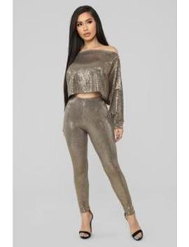 Disco Dreams Sequin Set   Gold by Fashion Nova