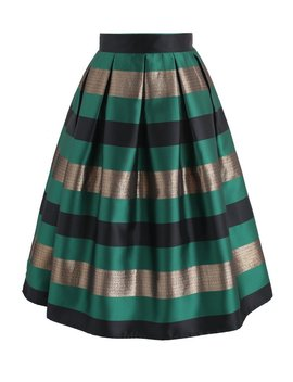 Cheers Stripes Pleated Midi Skirt In Green by Chicwish