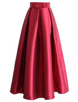 Bowknot Pleated Full Maxi Skirt In Red by Chicwish