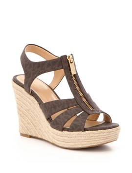 Berkley Mk Logo Zip Up Espadrille Wedges by Michael Michael Kors
