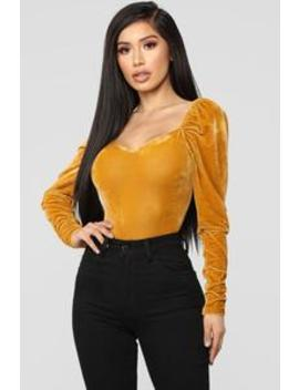 Late Night Velvet Bodysuit   Mustard by Fashion Nova