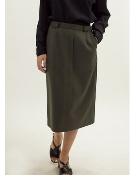 Pre By New Classics Vintage Army Green Pencil Skirt by Garmentory