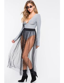 Mesh Pearl Studded Maxi Skirt by A'gaci