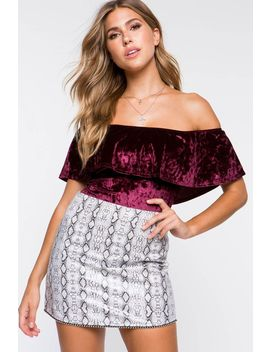 Crushed Velvet Flounce Off Shoulder Bodysuit by A'gaci