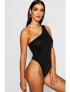 Strappy One Shoulder Crepe Bodysuit by Boohoo