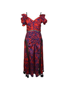 Off Shoulder Floral Printed Satin Dress by Self Portrait