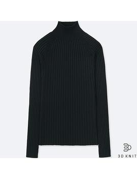 3 D Merino Sweater Extra Fine Sided Women Fire Collar by Uniqlo