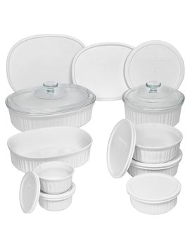 French White 18 Piece Bakeware Set by Corning Ware