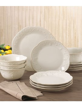 French Perle Scalloped Stoneware 12 Piece Dinnerware Set by Lenox