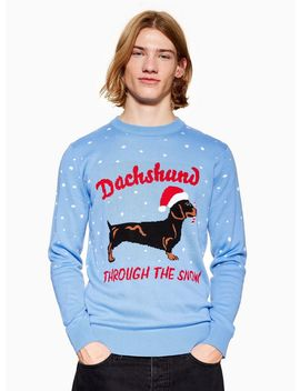 Christmas 'daschund Through The Snow' Jumper by Topman