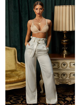 The Flow Down Wide Leg Satin Trousers In Ivory by Oh Polly