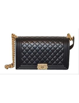 Boy Le Classic Quilted Handbag Black Leather Shoulder Bag by Chanel