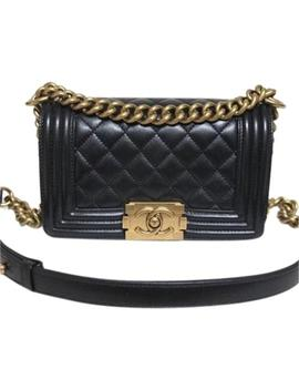 Boy Small Black Aged Gold Hardware Calfskin Leather Shoulder Bag by Chanel