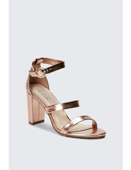 Metallic Three Strap Block High Heel Sandals by Select
