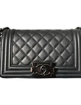 Boy Black Small Black Shiny Hardware Caviar Leather Shoulder Bag by Chanel